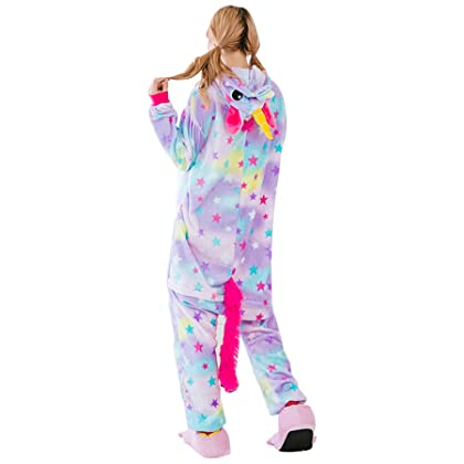 4b7d138c7f ... JYUAN Animal Onesie Pajamas Unicorn Kigurumi Cosplay Costume Cute  Sleepwear for Kids Adults