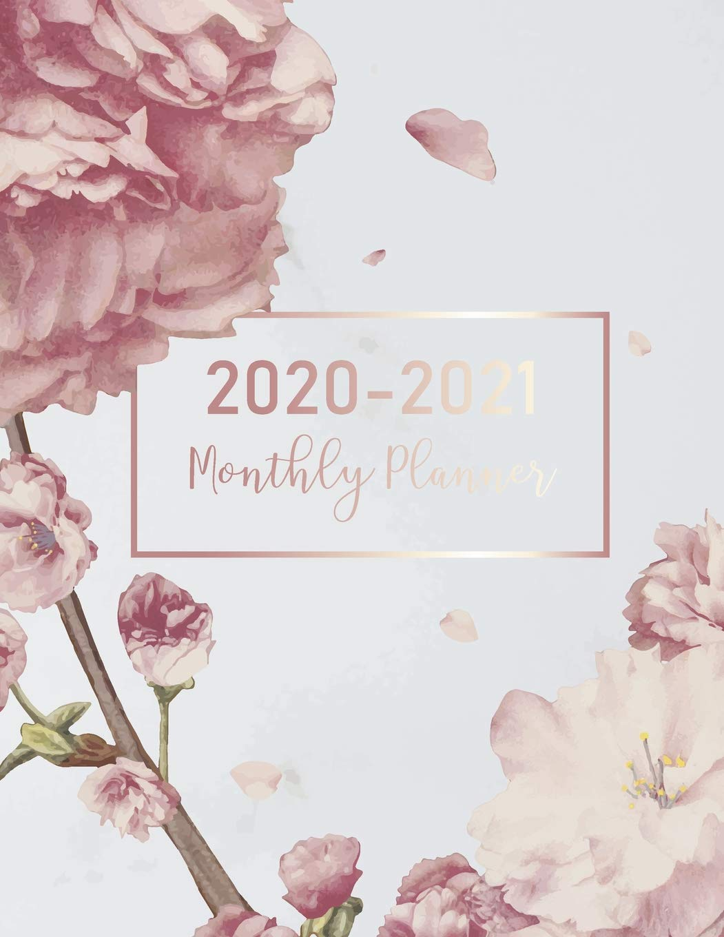 2020-2021 Monthly Planner: Marble Flower Cover | 2 Year ...