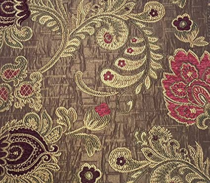 amazon com burgundy and pink floral brocade 58 inch fabric