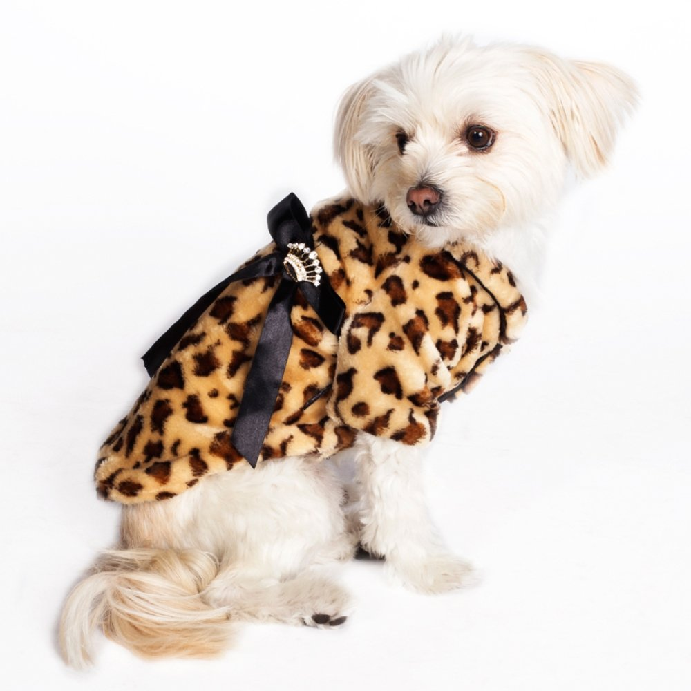 Dogs of Glamour Brrr Coat, Large, Leopard