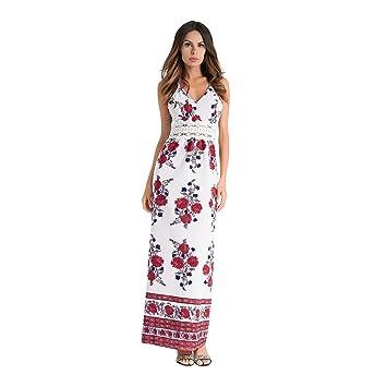 Vestido de mujer Vestidos de dama Impresión de cintura encogida Gasa Moda Sling Vestido largo Vestido
