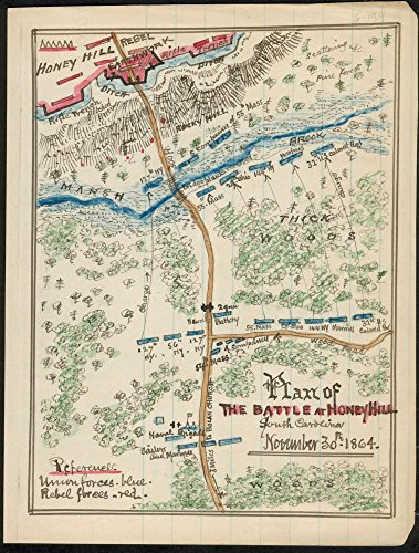 1864 map Plan of The Battle of Honey Hill, South Carolina, November 30th, 1864 Size 18x24 - Ready to Frame  Charleston and Savannah Railroad Civil War Grahamville Grahamville SC History Honey Hill Ch (Carolina Pottery South Barn)