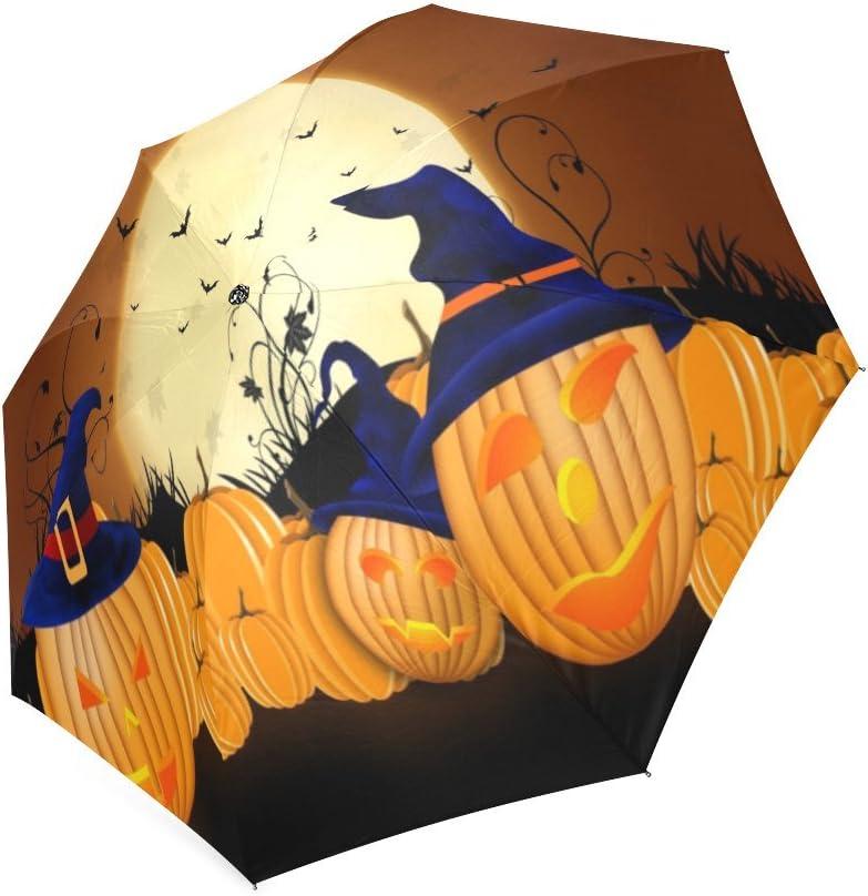 Happy Halloweens Day Gifts Folding Rain Umbrella Parasol Windproof Travel Sun Umbrella Compact