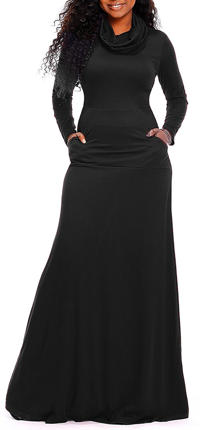 AM CLOTHES Women Cowl Neck Long Sleeve Loose Plain Long Maxi Dresses with Pockets