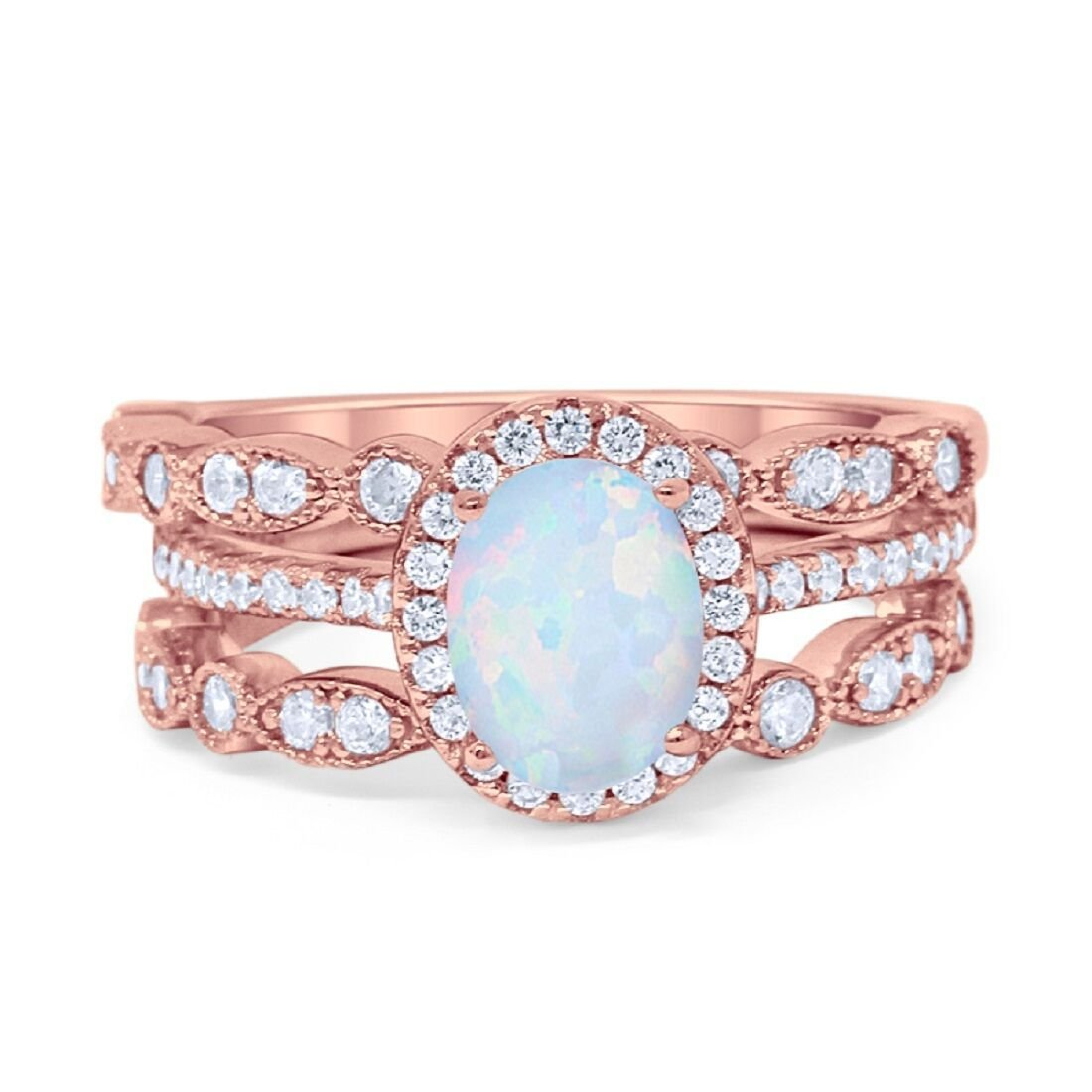 Blue Apple Co. Three Piece Halo Art Deco Wedding Band Engagement Ring Oval Lab White Opal Simulated Round Cubic Zirconia Rose Tone 925 Sterling SilverSize-5 by Blue Apple Co.
