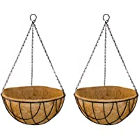 GARDEN KING - 10 INCH Coir Hanging Basket-with Chain - Designer Coir Hanging Flower Plant Container for Indoor and Outdoor (Set of 2)