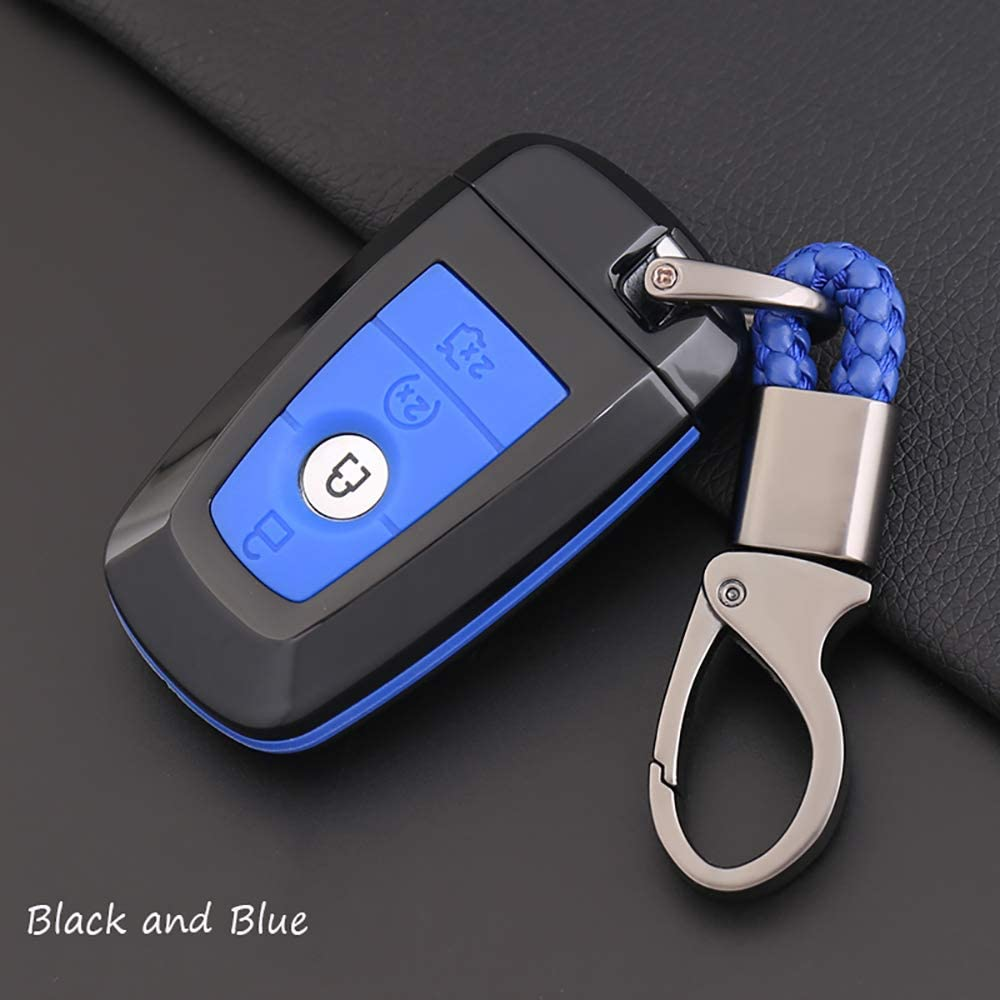 Blue ontto for Ford Carbon Fiber Texture Smart Key Cover Case Key Shell Remote Key Box Key Chain Key Ring Prevent Scratch and Falling Fits Ford Mondeo Mustang Edge