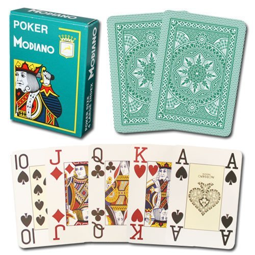 Modiano 100% Plastic Playing Cards Cristallo 4 PIP JUMBO INDEX (Dark (Jumbo Index Green)