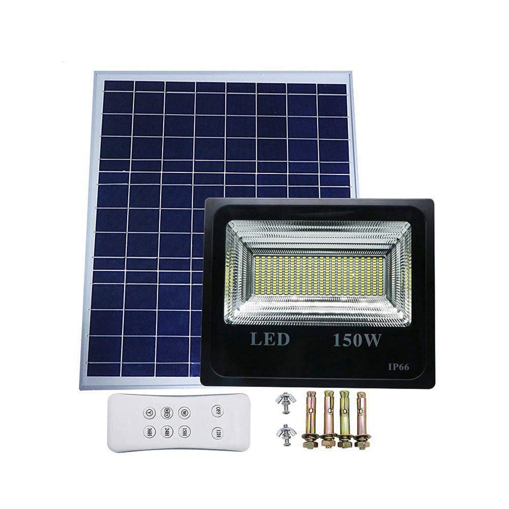 SZYOUMY Double Color Street Lamp 30W-150W LED Solar Panel Flood Night Light with Remote for Outdoor Garden Decoration Landscape Spotlight Wall Lamp Bulb (150W, Single Color)