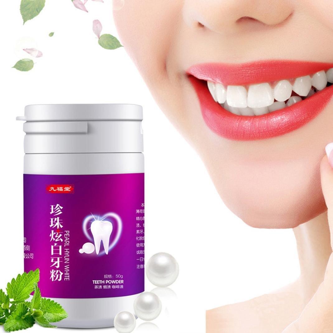 EARS Zahnpasta Pulver Teeth Whitening Powder Natürliche Aktivierte Perle Whitening Zahn Zähne Puder Toot (Pink)