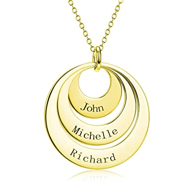 da9a9a3e6ea36 LONAGO 925 Sterling Silver Personalized Name Necklace Engraved 3 Disc  Circle Necklace Custom Three Names Necklace Gift for Graduation Birthday