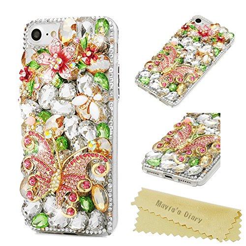 Maviss Diary iPhone 7 Case, iPhone 8 Case Luxury 3D Handmade Bling Crystal Rhinestone Diamonds Lovely Shiny Sparkling Gems [Full Edge Protection] Clear Hard PC Cover - Big Butterfly