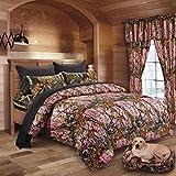 20 Lakes Woodland Hunter Camo Comforter, Sheet, Pillowcase Set (Twin, Pink & Black)