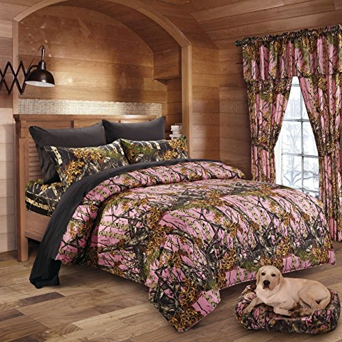 20 Lakes Woodland Hunter Camo Comforter, Sheet, Pillowcase Set (Twin, Pink & Black) by 20 Lakes (Image #1)