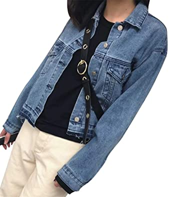 competitive price 630e9 9e7b7 Freitop Vintage Jeansjacke Tailliert Damen Kurz Used Look in ...