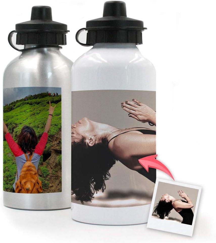 Getsingular Botellas de Aluminio 500 ml Personalizadas con Tus Fotos y Texto | Botella de Viaje lijera con Fotos