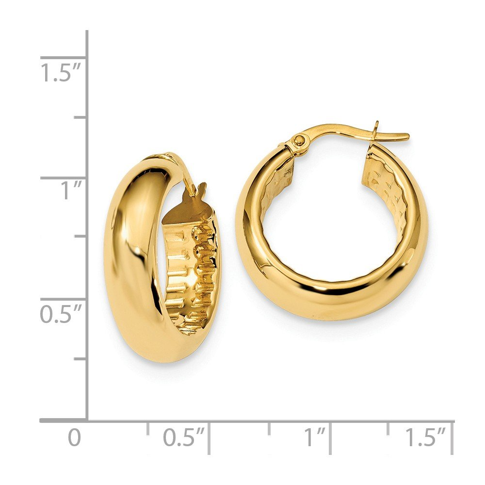 Mia Diamonds 14k Yellow Gold Polished with Textured Inside 6.0mm Hoop Earrings