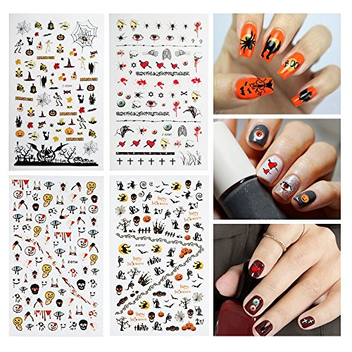 Dadii Halloween Nail Stickers 4 Sheets Art Tattoo Decals Self-adhesive Sticker Nail Wraps with Halloween Designs (Halloween 2) -