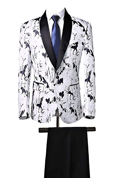Amazon.com: Black Shawl Lapel 2 PC blanco trajes de hombre ...