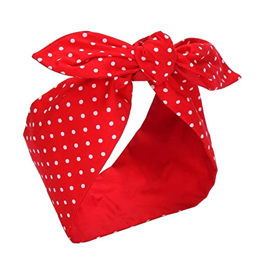 Vintage Scarf Styles -1920s to 1960s Sea Team Cotton Headband Bows Red with White Polka Dots Double Wide Headwrap Cotton Head Band $12.99 AT vintagedancer.com