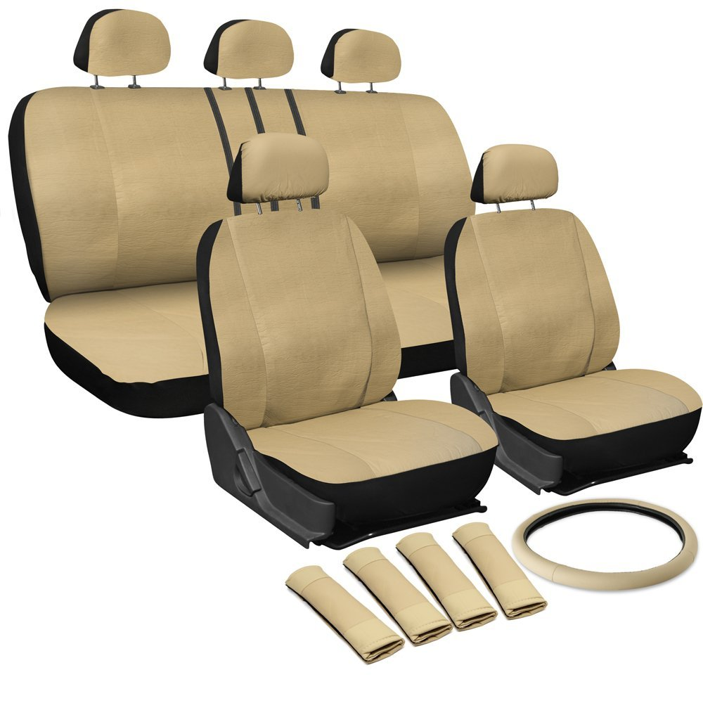 Faux Leather Seat Cover for SUV Truck Van Solid Black 17pc Wheel-Belt-Head Rest