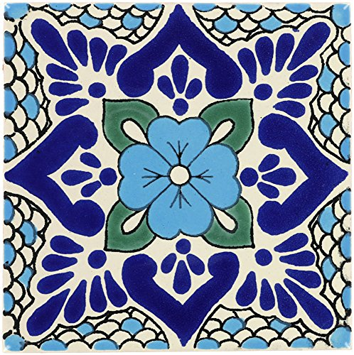 Tierra y Fuego Box of 9-4¼ x 4¼ Polanco 3 - Talavera Mexican Ceramic Tiles