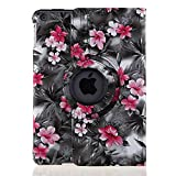Case Cover for iPad Air 2 (iPad 6) - TOPCHANCES 360 Degrees Rotating PU Leather Case Smart Cover Stand Tablet Case Support Wake/Sleep Function with Stylus Pen (Black Camellia)
