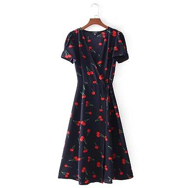 1837f16c22fe9 Chiffoned Sexy V Neck Wrap Chiffon Dresses Summer Retro Cherry ...