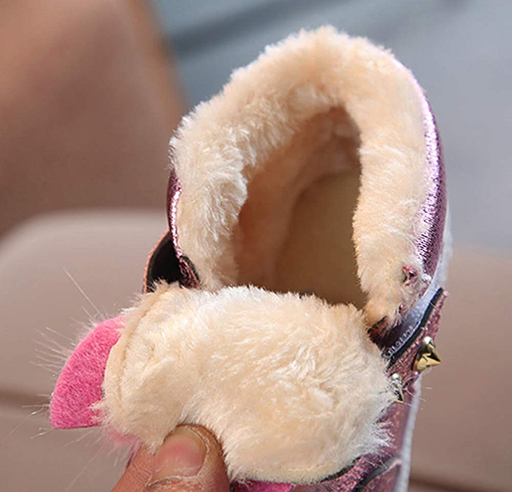 Hattfart Winter Fur Baby Girls Bunny Ears Booties Rubber Sole Thick Snow Boots Fleece Lined Single Shoes