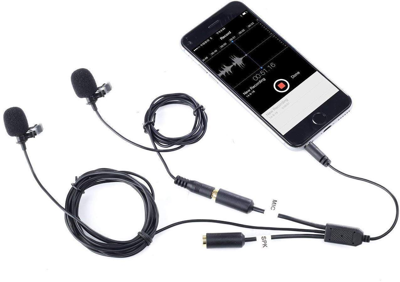 Interview Android Vlog Easy Clip on Microphone for Recording a Podcast iPad and YouTube Videos and Other Smartphones and DSLRs Movo PM10W Lavalier Microphone and Lapel Microphone for iPhone