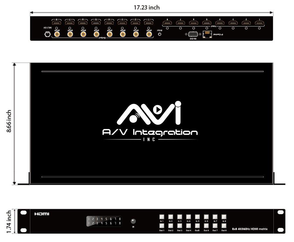 AVI 8x8 HDMI Martix Switcher 4K @60Hz With IR SPDIF Audio Interface Support HDMI2.0 HDCP 2.2 / 1.4, EDID, DTS, Dolby HD 3D
