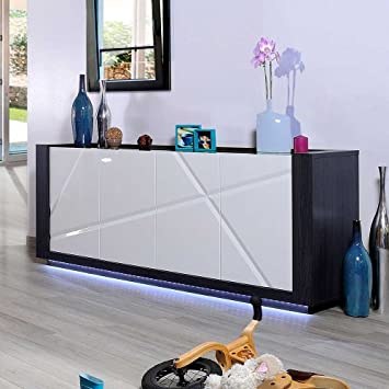 Sideboard Mit Beleuchtung | Hochglanz Sideboard Mit Led Beleuchtung 200 Cm Breit Pharao24