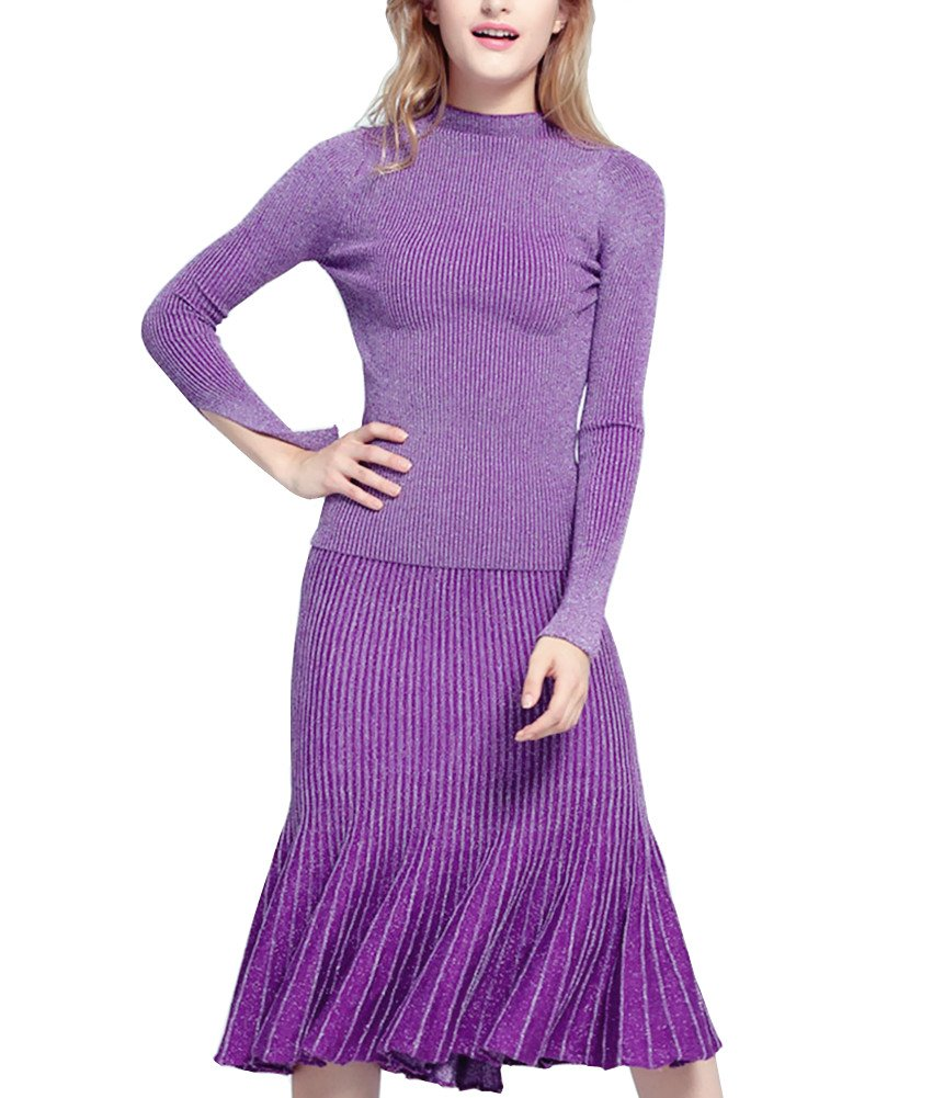YSJ Women's Long Sleeve Knit Sweater Mermaid Bodycon Pencil Skirt Sets