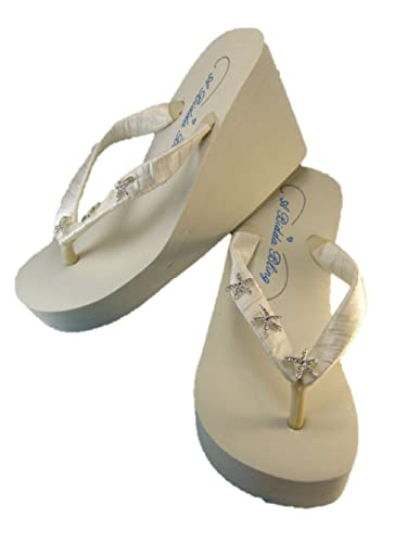 Amazon.com | High Ivory Wedge Bridal Flip Flop Sandals with ...