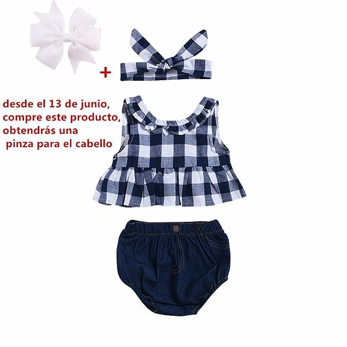 5ff3c5fa3 Fossen Ropa Bebe Niña Verano Recien Nacido Bebé Tops de Cuadros Y Caqueros  Corto con Banda de Pelo: Amazon.es: Ropa y accesorios