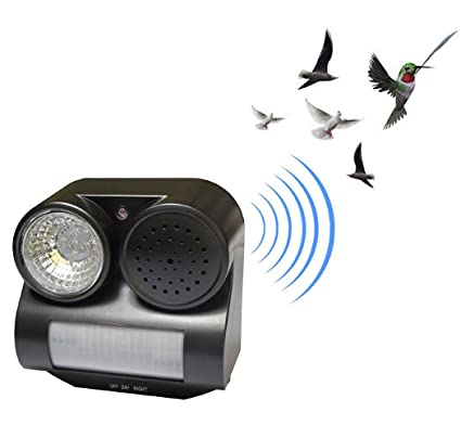 ESOW PIR Bird Repeller Motion Activated with Flashing LED Light and Sound  (Harmless)to Repel Animal Bird Bat Pigeon Away for Garden/Yard/Farm/Balcony