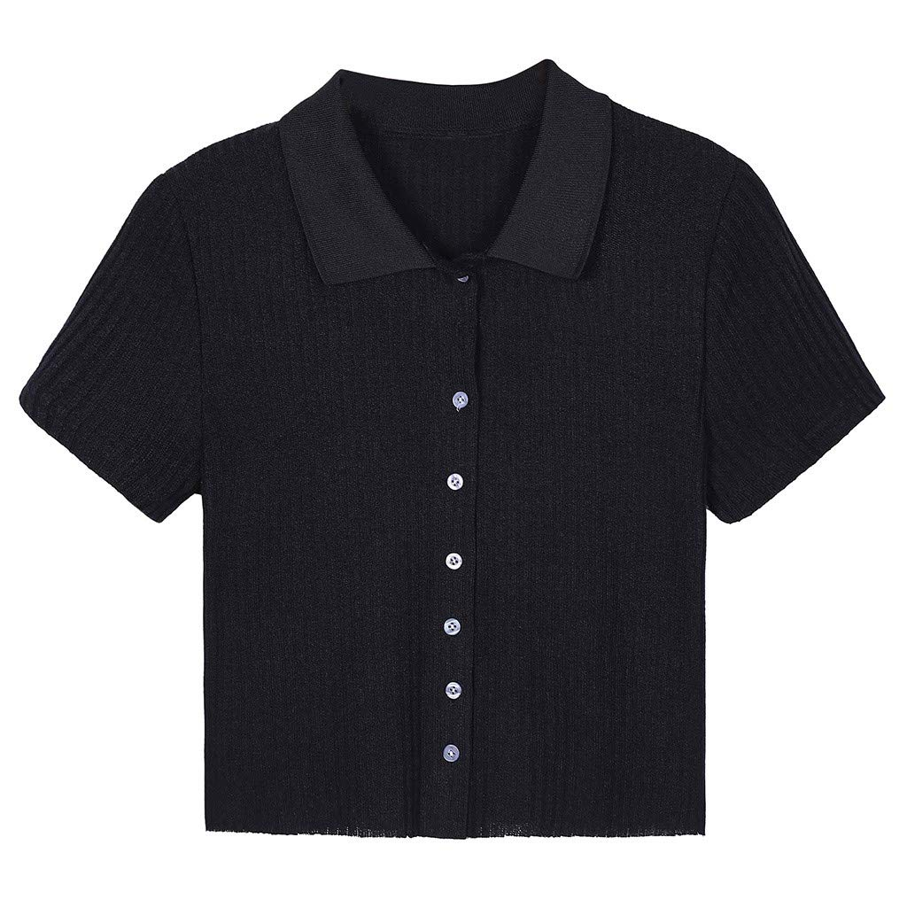2019 Fashion Summer Womens Plus Size Short Sleeve V Neck Button Down Solid Slim Fit Polo Shirt Tops Blouses Tee Crop Top Black