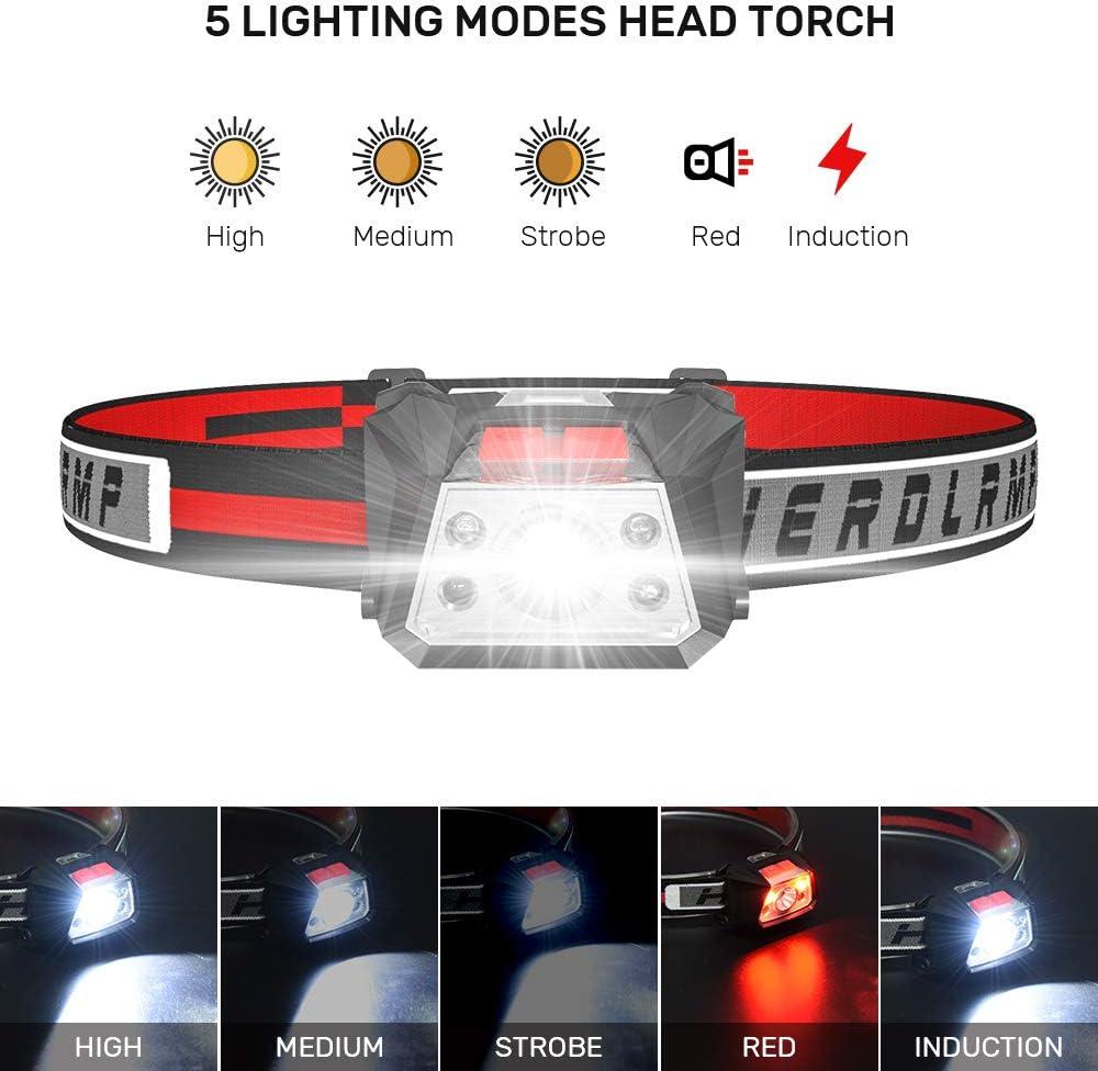 Karrong Lampe frontale LED avec voyant rouge davertissement rechargeable par USB