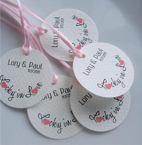 Lucky In Love Kraft Wedding Favor Tags Lucky In Love Tags SC-295-KR Lucky Wedding Hang Tags