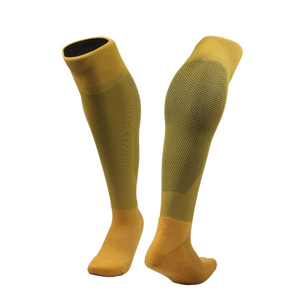 WINOMO Chaussettes de Football Anti-dérapant de Sport Chaussettes de Football athlétiques Chaussettes de Couleur Unie (Jaune)