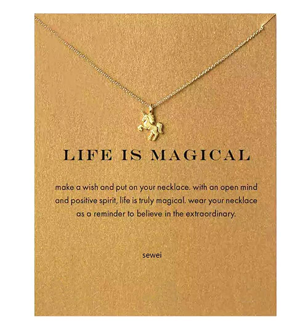 SEWEI Friendship Clover Necklace Unicorn Good Luck Elephant Cross Starfish Swan Necklace Message Card Gift Card