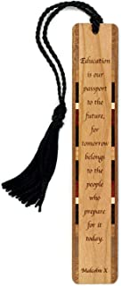 product image for Malcolm X Education Quote, Engraved Wooden Bookmark with Tassel - Search B0716QDF4P for Personalized Version