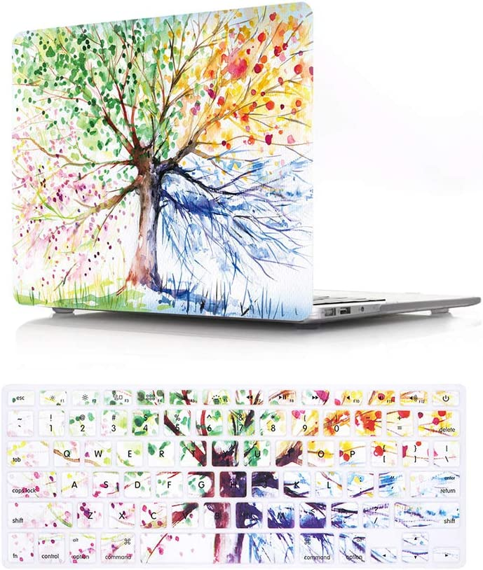 HRH 2 in 1 Watercolor Art Four Seasons Tree Laptop Body Shell Protective Hard Case Cover Silicone Keyboard Cover for MacBook Old Pro 13