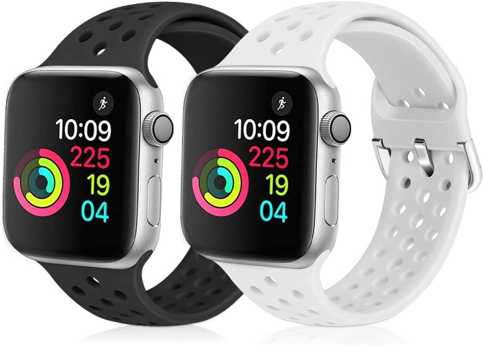XFYELE Compatible with Apple Watch Band 42mm 44mm, Soft Silicone Replacement Strap Compatible for iWatch Series 6, 5, 4, 3, 2, 1 for Women and Men (Black & White, 42mm/44mm)