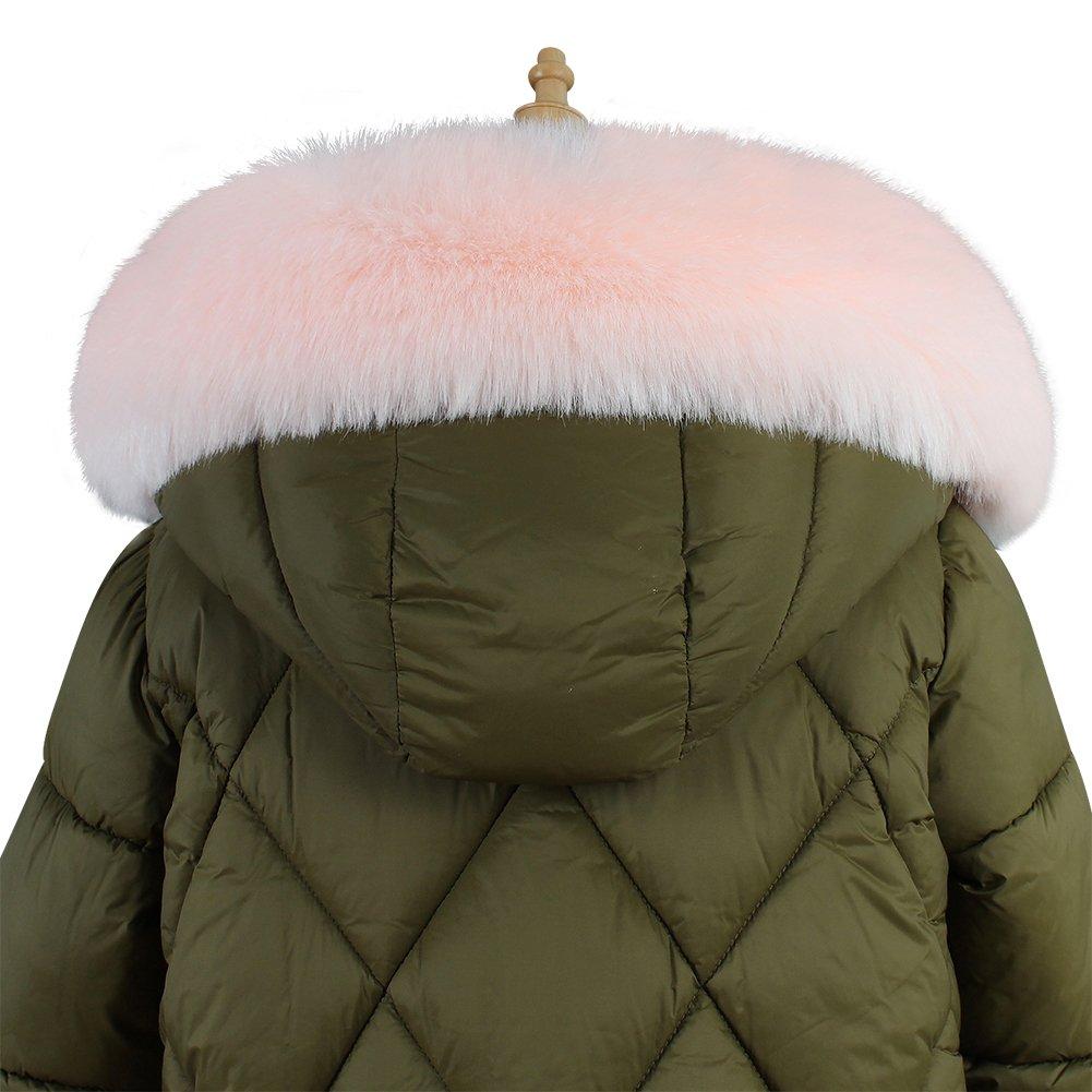 Roniky Womens Mens Trim Hood Faux Fake Fur Hood Winter for Jacket Ski Scarf Neck Warmer Collar Wrap Shawl (Pink)