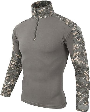 Hombres Airsoft Militar Táctico Camisa Largo Manga Camuflaje Combate BDU Camo Camisetas con Cremallera UPC Small: Amazon.es: Ropa y accesorios
