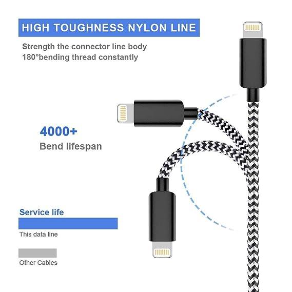 VaseaVIVK Cargador Phone -[1/1/2/2/3 M] 5 Piezas Nylon Cable Trenzado Duradero de Carga Rápida Compatible con Phone XS/XR/X/8/8 ...
