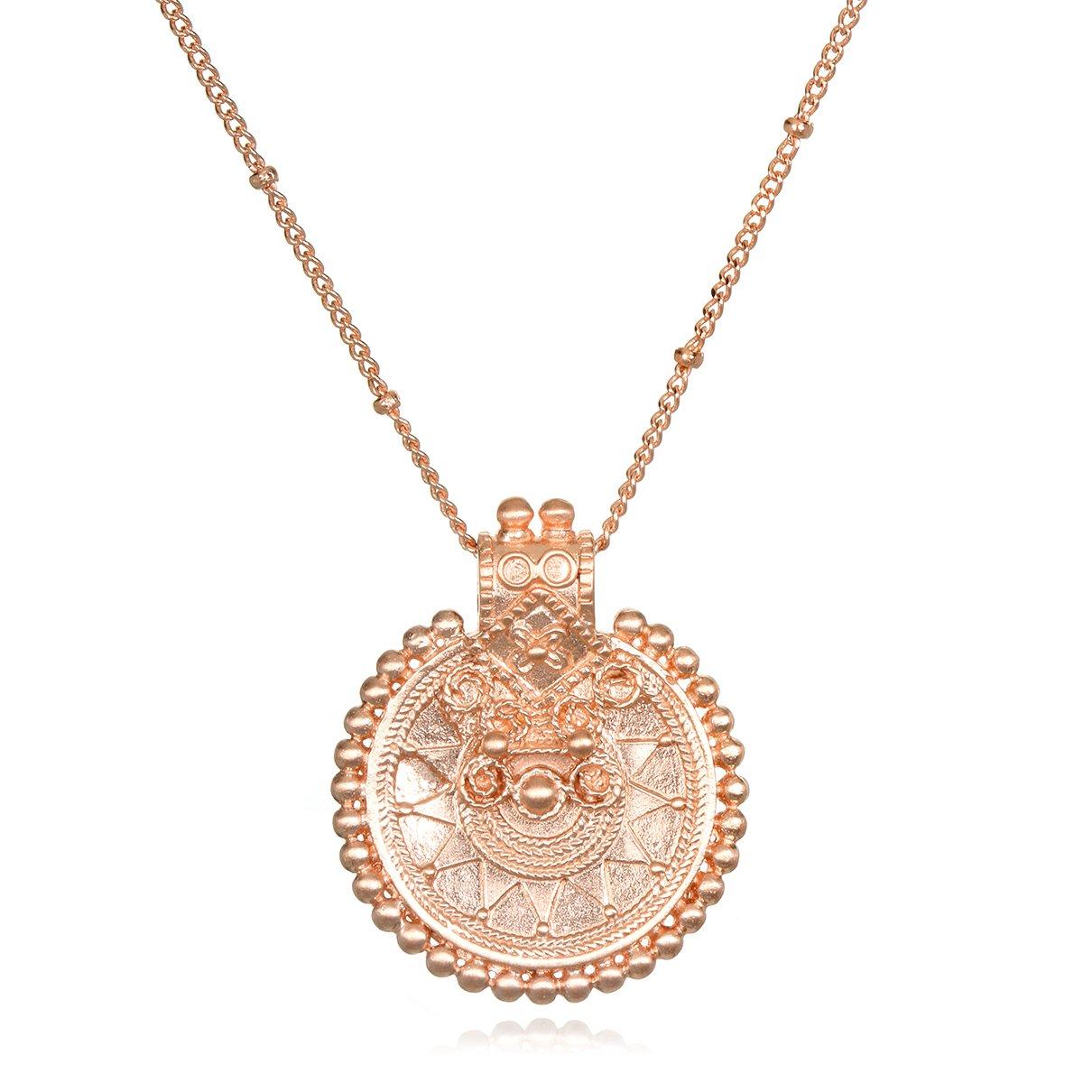 Satya Jewelry Womens Rose Gold Mandala Pendant Necklace 36-Inch, One Size NRG3-L36