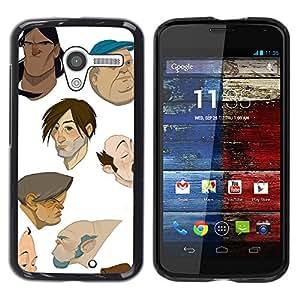 Artista Diseñado dibujos animados cgi Pintura- Metal de aluminio y de plástico duro Caja del teléfono - Negro - Motorola Moto X 1 1st GEN I