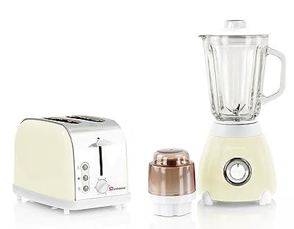 SQ PRO Juego de tostadora y batidora de Vaso axinita, Acero Inoxidable - Crema